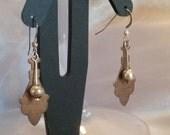 Vintage looking copper cut out earrings