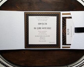 Art Deco Wedding Invitation - Pocket Wedding Invitation - Black and White Wedding Invitation - Style W-16 - SAMPLE