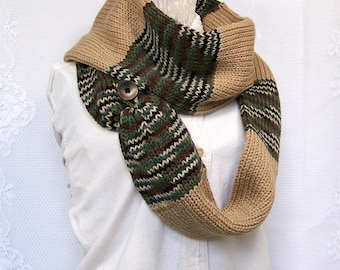 Knit scarf - green camo mix and light taupe solid - infinity scarf, circle scarf, double knit scarf - Sandy Coastal Designs - ready to ship