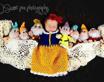 Newborn snow white dress  crochet Newborn photo props photography  girl