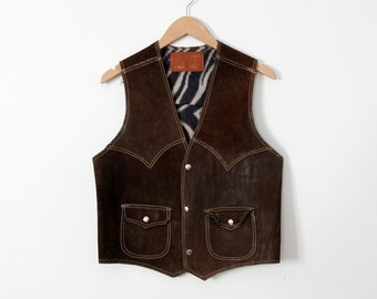 SALE 1970s leather biker vest, vintage brown suede rocker vest