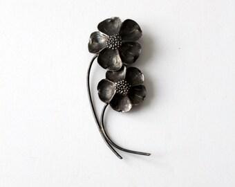 vintage sterling silver flower brooch, Stuart Nye art nouveau floral pin