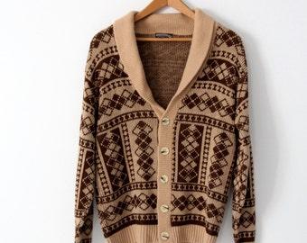 vintage 70s cardigan sweater, men's Crown Sportswear cardigan