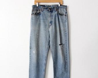 vintage Levi's 550 denim jeans, paint splatter denim, 36 x 30