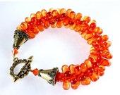 ON SALE Kumihimo Czech Teardrop Bracelet, Fire Opal
