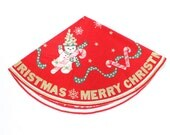 Vintage Christmas Tree Skirt - Dancing Snowman w/ Candy Canes, Stars, Snowflakes - Merry Christmas - Red Flannel - Gold Green White