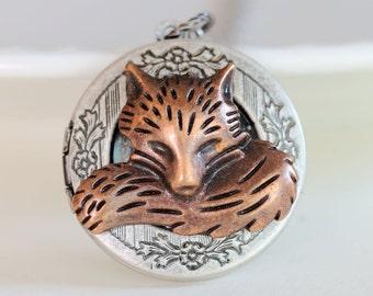 Locket,Copper Red Fox Locket,Antique Locket,Silver Locket,Woodland,Fox Necklace