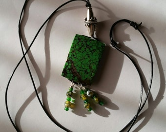 NEW ARTISAN JEWELRY - Green Turquoise, Sterling Silver and African Opal Necklace