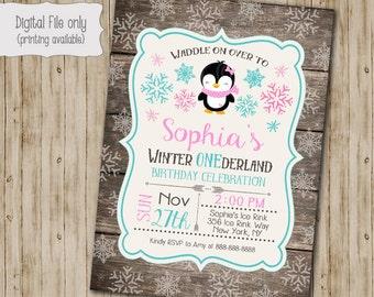 Penguin Winter ONEderland Invitation, Wood First Birthday Invite, Penguin Invitation, Winter ONEderland, Rustic, Snow, First Birthday