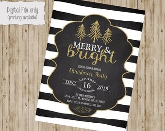 Christmas Party Invitation, Christmas Party Invites, Holiday Party Invites, Christmas Party Printable, Glitter Chalkboard Christmas Party