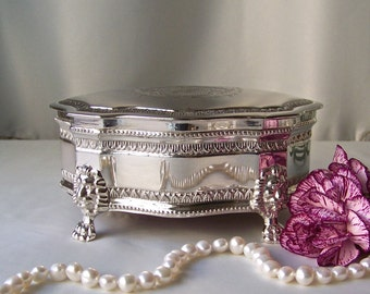 Vintage Silver Plate Jewelry Box Burgundy Lining Etched Medallion Shield Lyon Design Trinket Box Vintage 1960s