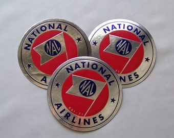 Vintage National Airlines Luggage Labels In Original Package Travel Stickers Unused Original Gum 1950s