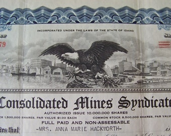 Vintage Stock Certificate 1933 Consolidated Mines Syndicate 25 Shares Of Stock Memorabilia Capital Stock