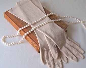 Vintage Tan Gloves Long Cotton Gloves Size Small Ladies Gloves Prom Luncheon Wedding Retro Gloves Vintage 1960s