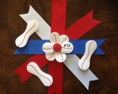 VINYL BASEBALL Flower Petals ~ EMBELLISHMENTS ~ Personalized With Name Or Number ~ Available Ready To Use With Button, Cut, Or Uncut.