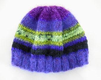 Purple / Lime Hand Knit Hat — Yarn Origin: Turkey & France