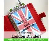 PRINTABLE Personal Size Cute Kawaii London DIY Dividers 5 Top Tabs for Filofax Organizer Planner Instant Download