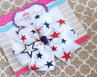 Baby Bows, Toddler Bows, Girls Hair Bows, Boutique Hair Bows, Hair Clips, Red White Blue Hair Bow Headband, Pinwheel Hair Bow, 4 Inch Bows