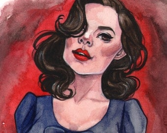 Agent Peggy Carter Captain America Avengers Marvel Girls inspired watercolor Art Print Carla Wyzgala carlations