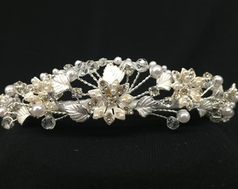 Vintage Pearl and Rhinestone Accented Flower Tiara