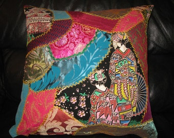 Geisha Embroidered crazy quilt Pillow cover.Unique Turquoise and Pink Cushion 18x18 inches