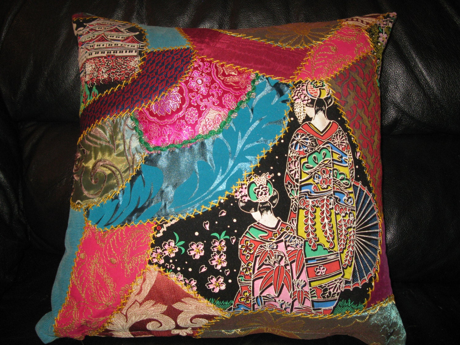 Geisha Embroidered Crazy Quilt Pillow Cover Unique Turquoise