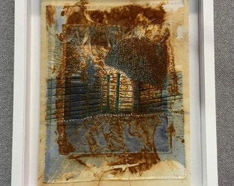 Fine Art Textile Painting 'I know the way, follow me' machine drawn, dyed with rust and woad, hand stitched.