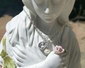 Saint Gerard Patron Saint of Expectant Mothers, Motherhood, Fertility, Pearl Necklace