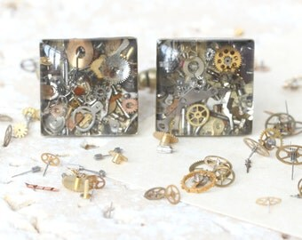 Steampunk Cufflinks, Steam Punk Cufflinks, Silver Cufflinks, watch part cufflinks, Gothic cufflinks, Steampunk accessories, Steampunk art