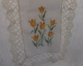 Vintage Table Runner, Dresser Scarf, White Cotton Blend with Wide Ivory Nylon Lace Edge and Cross Stitch Yellow Tulips