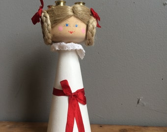 Vintage Kitsch Holiday Hand Painted Candle Holder Saint Lucy