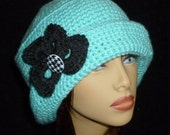 Crocheted Women's Pleated Brimmed Flapper Hat with Petal and Button Trim - Turquoise with Dark Grey Flower