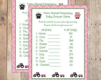 Joan Deere Farm Animal Pregnancy Baby Shower Game - John Deere for BABY GIRL