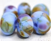 lamp work beads... SRA handmade, lampwork beads, pastel beads, multicolor beads set of (6) for making jewelry 91816-16