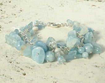 Aquamarine Bracelet - Natural Gemstone Blue Aqua Bracelet  in Recycled Silver