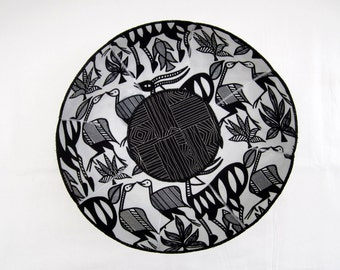 African Animals fabric bowl black and white antelope ostrich fish