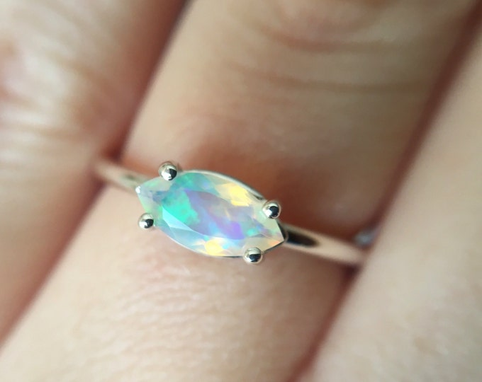 Faceted Marquise Ethiopian Opal Ring - sterling silver faceted opal ring - opal engagement ring - october birthstone ring - gifts for her