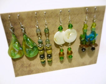 Beach Jewelry Set, 4 Pairs of Sterling Silver Earrings, Green Earrings Set, Ocean Earrings, Shell Beads