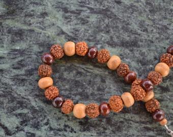Rudraksha Sandalwood Bracelet, Rudraksha Wrist Mala, Rudraksha Bracelet, Red Sandalwood Bracelet, Yoga Jewelry, Hippie Jewelry, Hippie, B07