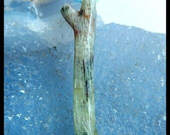 Green Kyanite Gemstone Pendant Bead,Freeform Bead,52x13x6mm,7.10g