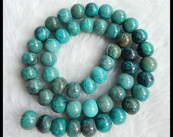Natural Chrysocolla Gemstone Loose Beads,1 Strand,9x8mm,58.2g