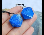 Reserved for Patricia,Lapis Lazuli Faceted Gemstone Earring Bead,20x18x7mm,10.9g