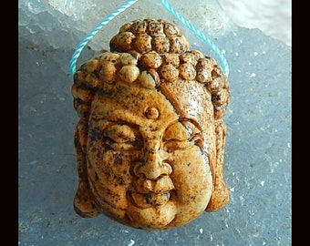 New,Carved Picture Jasper Buddha Head Pendant Bead,31x23x11mm,12.1g