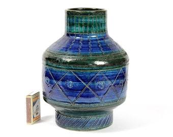 Aldo Londi Bitossi Rimini Blu Italian Modernist Vase Ceramic Italy Art Pottery Mid Century