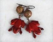 Frog Earrings, Red Earrings, Handmade, Dangle, Animal Earrings