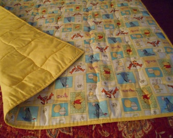 Handmade Baby Quilt Pooh Be Cuddly Patchwork  Toddler Bed or Crib Size Quilt  Comforter Blanket 36' X52""