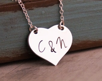 Initials in my Heart / Hand Stamped Necklace / Personalized Custom Jewelry / Sterling Heart Necklace