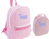 Backpack/Lunchbag combo ~ Pink Seersucker ~ Back to School - FREE Monogramming