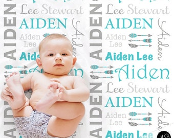 Personalized Baby Gift with Arrows Name Blanket for Baby Boy, personalized name blanket, photo blanket in aqua and gray or choose colors