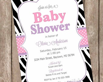 Pink and purple baby shower invitation, zebra baby shower invitation, baby shower invitation, zebra print invitation, diva baby shower